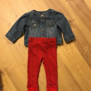 Denim Jacket and Leggings Set, Girls Size 12Months